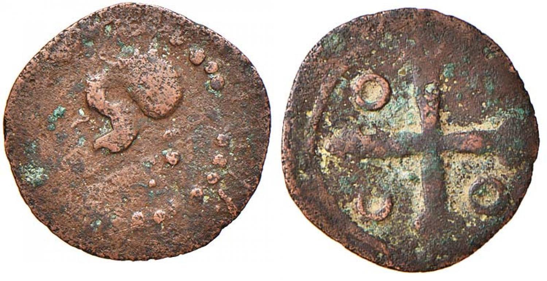 Un falso d'epoca dei 3 cagliaresi di Filippo IV realizzato in modo approssimativo per ingannare il popolo analfabeta