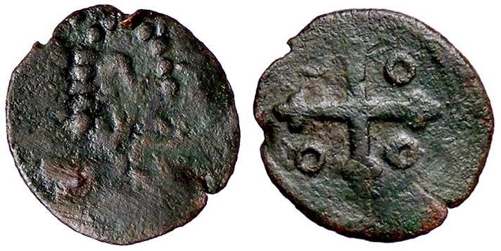 Uno dei falsi 3 cagliaresi dell'epoca di Filippo III: puntini e segni privi di significato sostituiscono figure e legende delle monete originali