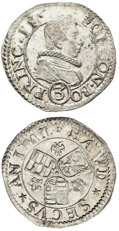 I tre soldi di Bozzolo a nome di Scipione Gonzaga del periodo 1616-1636 con i tre stemmi e il motto latino HAVD SECVS ANIMI