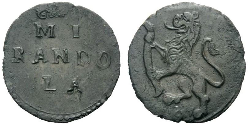 Alessandro I Pico, 1602-1637. Quattrino 161D/ MIRANDOLA su tre righe in campo. R/ leone rampante con fascia tra le zampe e sotto 1617. Si tratta di una contraffazione del diffusissimo quattrino di Bologna