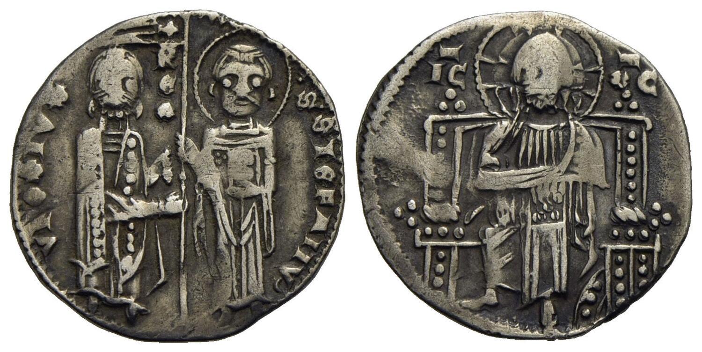 """Serbia, Stefan V Dragutin (1345-1355). Grosso in argento al tipo del famoso grosso """"matapan"""" della zecca di Venezia, uno dei tipi in argento più diffusi in area adriatica nel XIV secolo"""