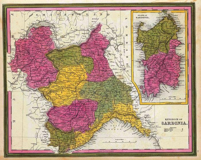 Il Regno di Sardegna in una carta geografica pubblicata in un libro inglese di inizio XIX secolo