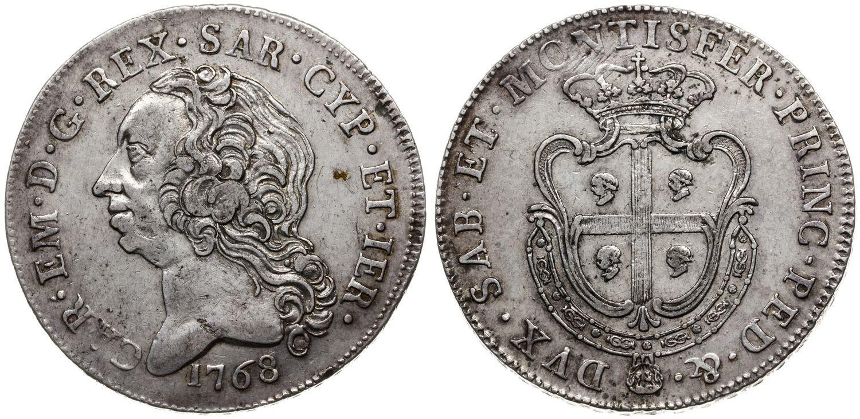 Un magnifico esemplare di scudo d'argento per la Sardegna, con stemma dell'isola, battuto a Torino nel 1768