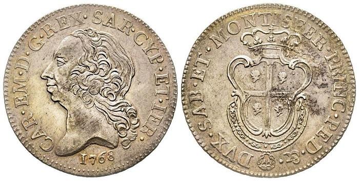 Un bel mezzo scudo sardo con ritratto di Carlo Emanuele III di Savoia coniato nel 1768