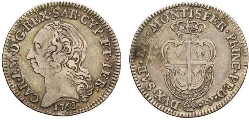 Un quarto di scudo sardo del 1768 con rilievi usurati dalla circolazione