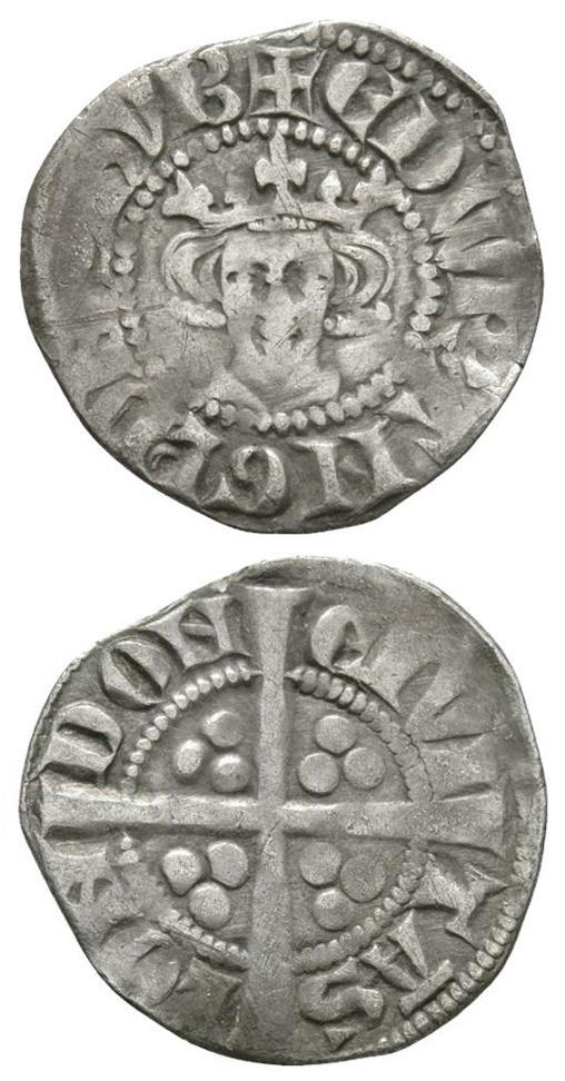 """Un """"long cross penny"""" in argento di re Edoardo I d'Inghilterra (1282-1289): si tratta di una delle prime monete coniate nella Torre di Londra"""