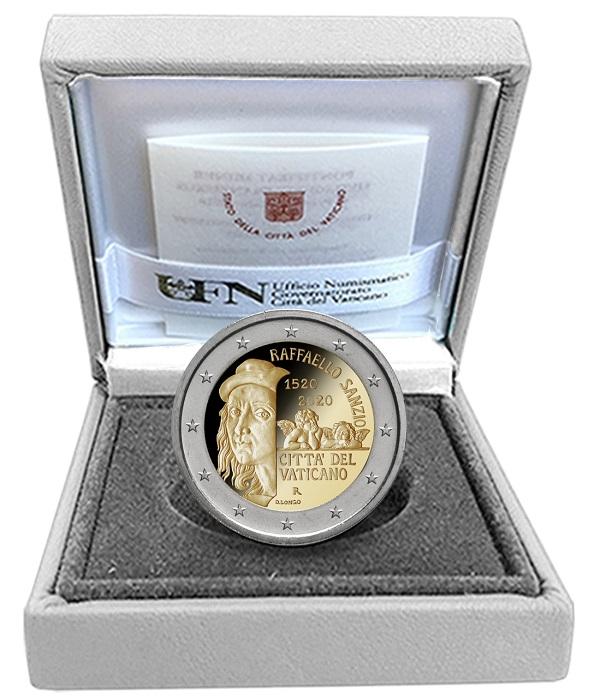 I 2 euro proof del Vaticano dedicati a Raffaello sono disponibili dal 16 ottobre in un elegante astuccio