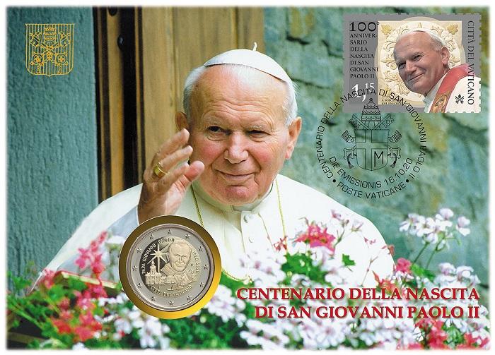 Bendice i fedeli Giovanni Paolo II, in un momento di riposo probabilmente sulle amate montagne, e sorride: questa l'immagine scelta dall'UFN vaticano per la busta filatelico numismatica del centenario