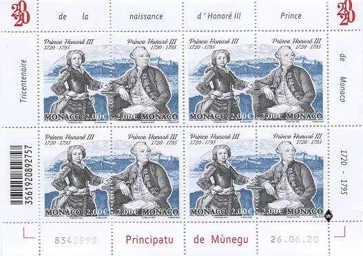 Le poste monegasche hanno reso omaggio con un foglietto al principe illuminato che regnò sul Principato per ben sessant'anni nel corso del XVIII secolo