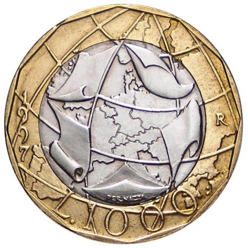 Il rovescio della 1000 lire italiana del 1997 con i confini orientali della Germania ancora risalenti alla Guerra fredda