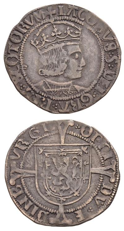 """Sul """"groat"""" (grosso) in argento Giacomo V appare in vesti più tradizionali, coronato e con ricco mantello"""