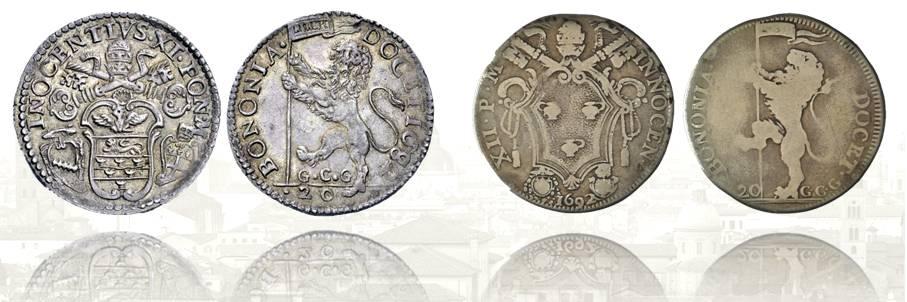 Lira bolognese di Innocenzo XI incisa dal Todeschi nel 1682 e lira di Innocenzo XII incisa dal Saint Urbain nel 1692