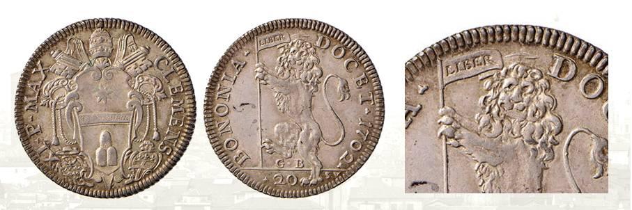 Un esemplare di alta conservazione della lira bolognese del 1702 incisa dal Saint Urbain: si noti la finezza dei dettagli