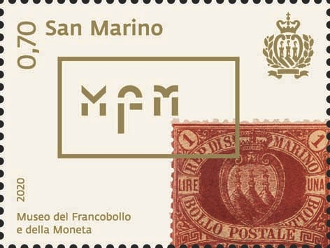Il logo del Museo del francobollo e della moneta (MFM) di prossima apertura a San Marino sul valore da € 0,70 in emissione il 10 novembre