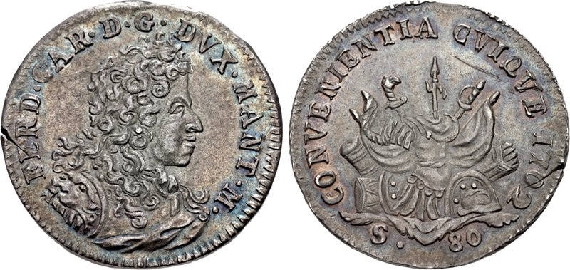 Un bell'esemplare di moneta da 80 soldi di Ferdinando Carlo Gonzaga Nevers con motto CONVENIENTIA CVIQVE