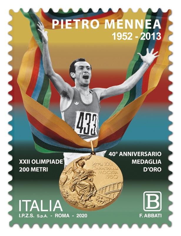 Il francobollo che ricorda il grande Mennea e la sua medaglia olimpica conquistata a Mosca 1980