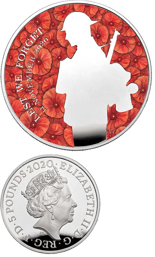 Di sfondo un campo di papaveri rossi, e un profilo di soldato stilizzato: ecco la moneta da 5 pound che il Regno Unito dedica quest'anno al Milite ignoto