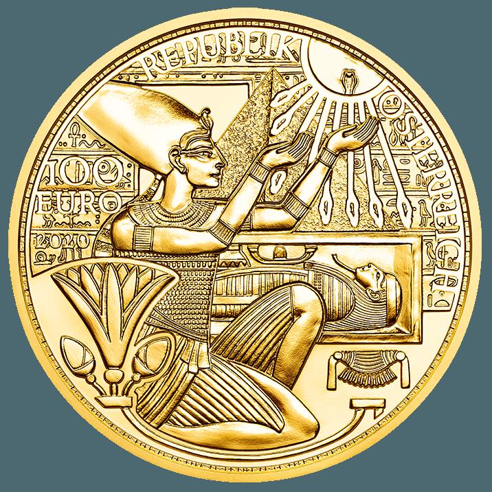 """L'oro, metallo """"solare"""" per eccellenza, esaltato su questa 100 euro d'Austrai nel suo ruolo sacrale assunto nell'Antico Egitto, specie ai tempi del faraone Akhenaton"""