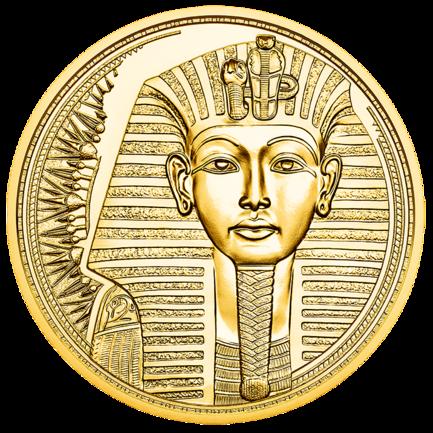 Anepigrafe, il rovescio della moneta raffigura la maschera funeraria di Tutankhamon conservata al Museo Egizio del Cairo