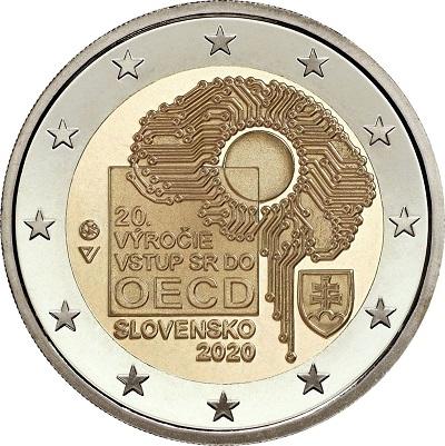 La faccia nazionale dei 2 euro slovacchi dedicati ai vent'anni dall'ingresso del paese nell'OCSE
