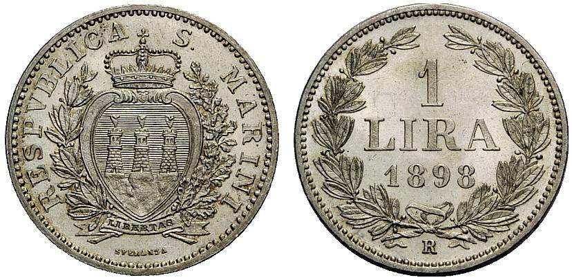 Lira in argento di San Marino con millesimio 1898: la monetazione della piccola Repubblica era iniziata con spiccioli in rame nel 1864, dopo la firma della Convenzione con il Regno d'Italia
