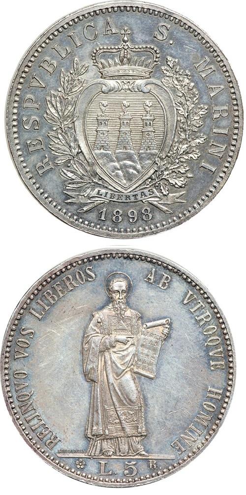 Un magnifico esemplare della rara 5 lire in argento sammarinese del 1898, parte della prima serie di monete in argento coniate dalla Repubblica