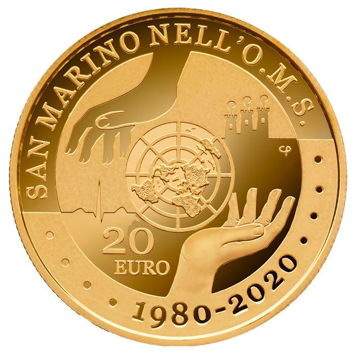Due mani, in una sapiente alternanza di elementi proof e satinati, su livelli di rilievo differenti si compongono in modo esemplare sulla 20 euro sammarinese 2020
