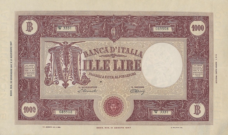 Il fronte del biglietto da 1000 lire Grande M numero W3331-085508 presenta un'inedita caratteristica, il contrassegno di Stato con la Medusa in colore scarlatto anzichè arancione
