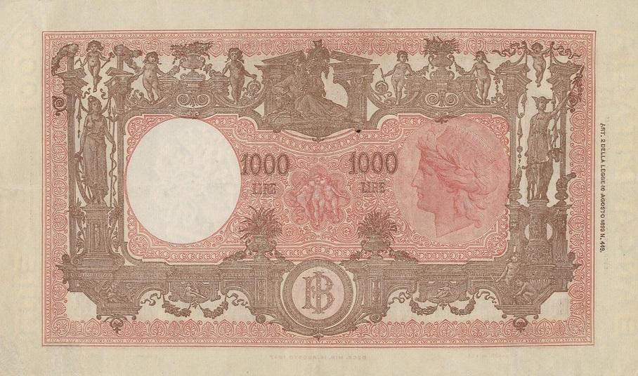 Il retro della banconota del 1947 variante non presenta caratteristiche anomale, segno che l'errore di colore si ebbe, e non venne notato, solo sul fronte del biglietto