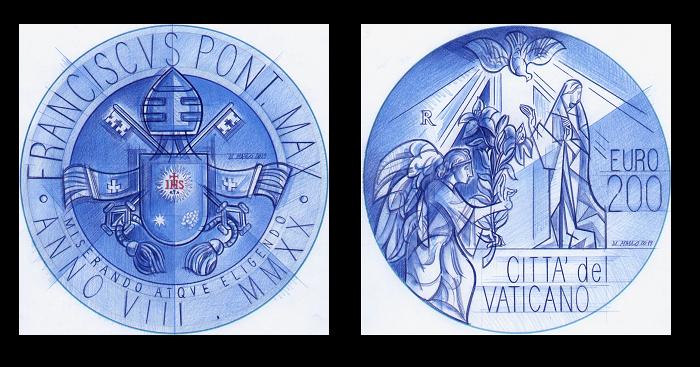 I bozzetti della nuova moneta vaticana da 200 euro, per gentile concessione dell'autore Gabriele Di Maulo