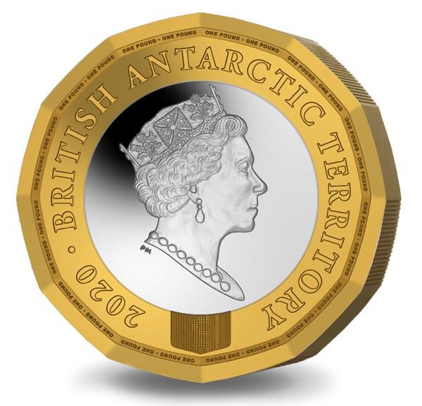"""La regina Elisabetta II ritratta sul dritto della bimetallica """"antartica"""""""