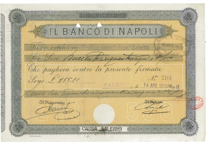 La fede di credito, uno strumento finanziario di antica origine, qui in un esemplare da 255,80 lire emesso proprio dal Banco di Napoli e risalente al 1931