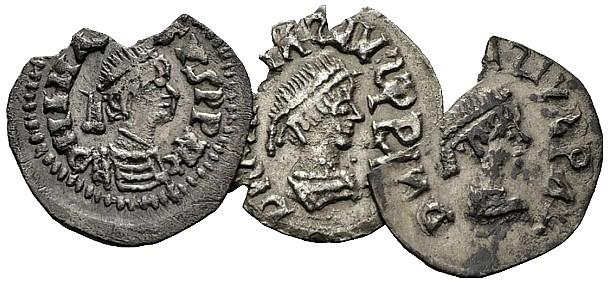 Tre esemplari di moneta da mezza siliqua di imitazione coniati dai Gepidi