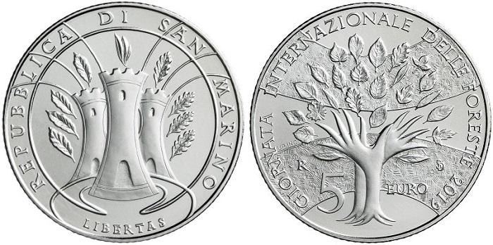 """""""Opera prima"""" di Sandra Deiana per San Marino, la 5 euro dedicata alla Giornata internazionale delle foreste è in lizza per il premio come moneta più artistica"""