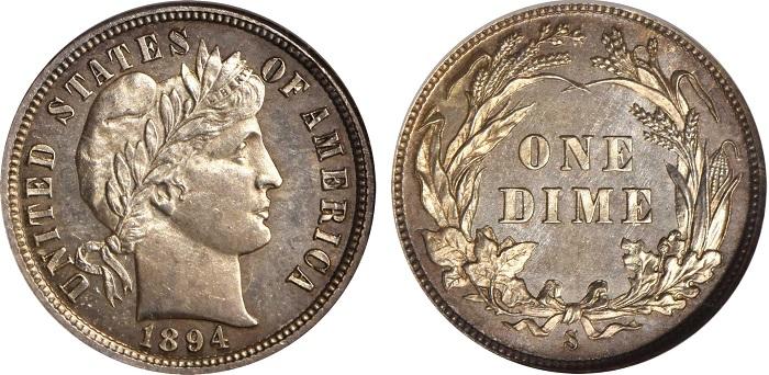 Fra i tesori della collezione Miller anche questo Barber Dime del 1894 coniato in soli 24 esemplari