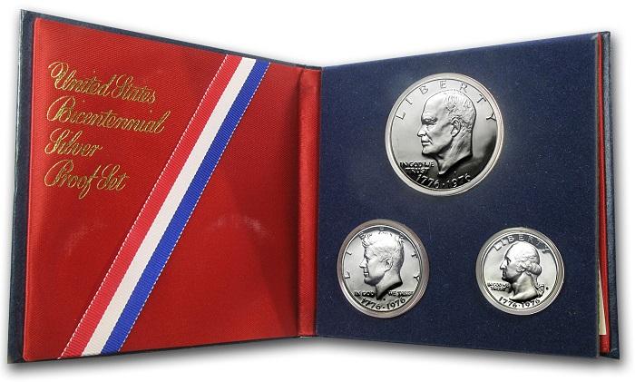 Cofanetto del bicentenario dell'indipendenza USA in argento con monete da uno, mezzo e un quarto di dollaro proof