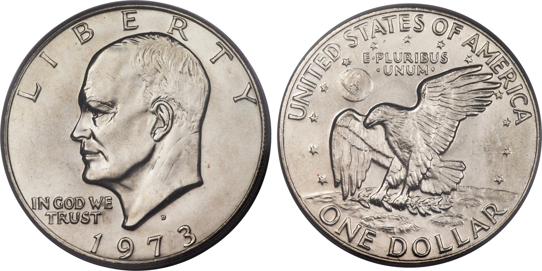Dollaro Eisenhower datato 1973 nella versione in cupronichel; la moneta venne inclusa solo nei set per i collezionisti