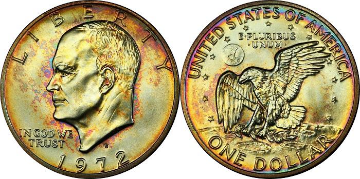Dollaro Eisenhower datato 1972 nella versione in argento; un esemplare eccezionale con delicata patina multicolore