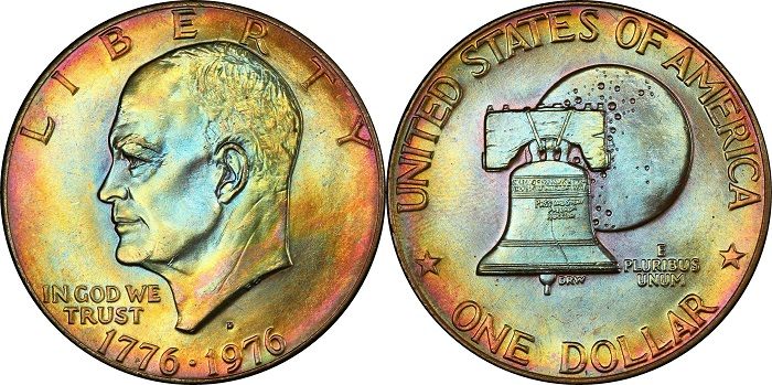 """Dollaro Eisenhower 1976 in argento; alla """"patch"""" della missione """"Apollo 11"""" è sostituita la campana della Libertà"""