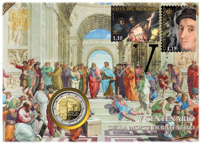 La busta vaticana 2020 che unisce la moneta da 2 euro dedicata a Raffaello Sanzio ad una coppia di francobolli emessi appositamente per celebrare il quinto centenario dalla scomparsa del maestro urbinate
