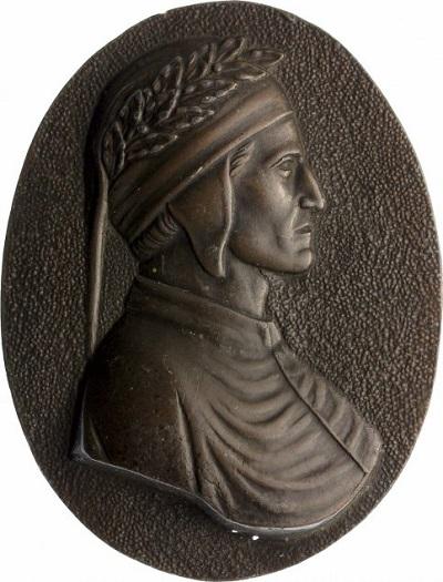 Placchetta uniface in bronzo del XIX secolo raffigurante il profilo di Dante: è solo una delle innumerevoli opere numismatiche dedicate al Poeta