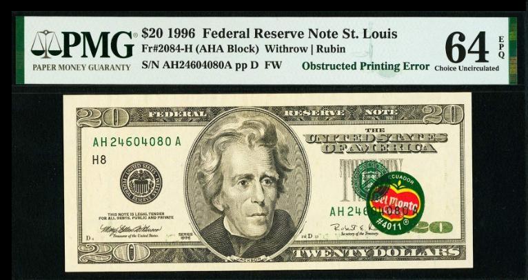 """La """"Del Monte Note"""" da 20 dollari che in asta Heritage ha raggiunto un realizzo di 396.000 dollari: il bollino """"incriminato"""" porta sovrastampati il numero di serie e il sigillo del Tesoro USA, quindi deve essere stato applicato al biglietto in una fase intermedia della stampa"""