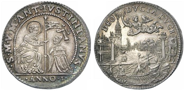 Si trovava in Piazzetta San Marco, fra le due celebri colonne, il primo banco da gioco autorizzato a Venezia: un luogo centralissimo che qui vediamo su un'altra osella, quella di Marcantonio Giustinian coniata nel 1684
