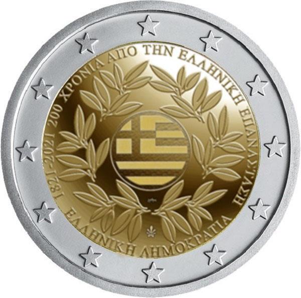Mostra la bandiera nazionale fra due rami d'ulivo la faccia nazionale dei 2 euro di Grecia 2021 che ricordano i duecento anni dalla rivoluzione contro l'Impero Ottomano
