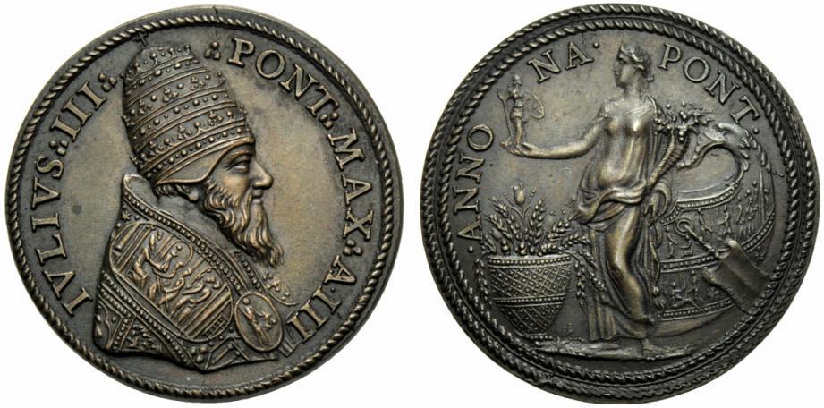 Anche su questa bella opera di Alessandro Cesati, detto il Grechetto, Giulio III Ciocchi Del Monte riprende un soggetto classico, l'Annona, per esaltare gli sforzi fatti per dare a Roma sufficienti scorte alimentari