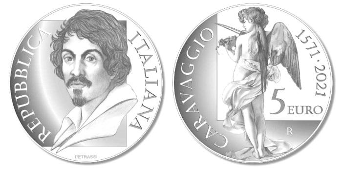 A rendere onore alla maestria di Caravaggio nel 450° anniversarioi della sua nascita sarà anche una moneta da 5 euro proof coniata in argento, modellata da Silvia Petrassi e avente gli stessi soggetti della 20 euro in oro