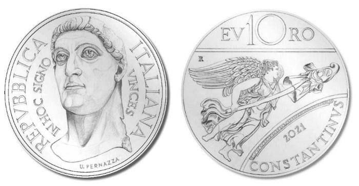 """Dal """"macro"""" al """"micro"""": la statua colossale di Costantino il Grande sul dritto della bella 10 euro che, disegnata da Uliana Pernazza, celebra l'imperatore e il suo arco di trionfo eretto a Roma dopo la battaglia di Ponte Milvio"""