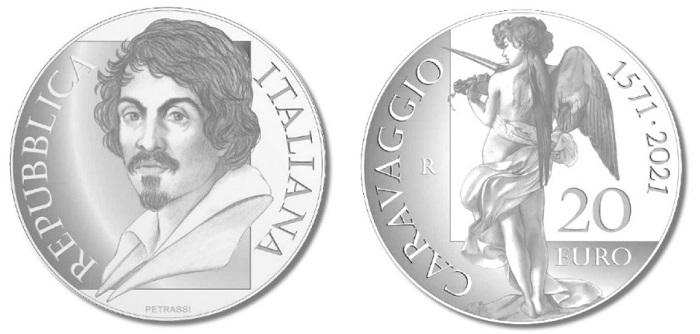 Tra le monete italiane in oro previste per quest'anno anche una 20 euro dedicata a Michelangelo Merisi con un suo intenso ritratto e un altrettanto suggestivo e angelo dalle ali di rondine, in bilico tra luce ed ombra