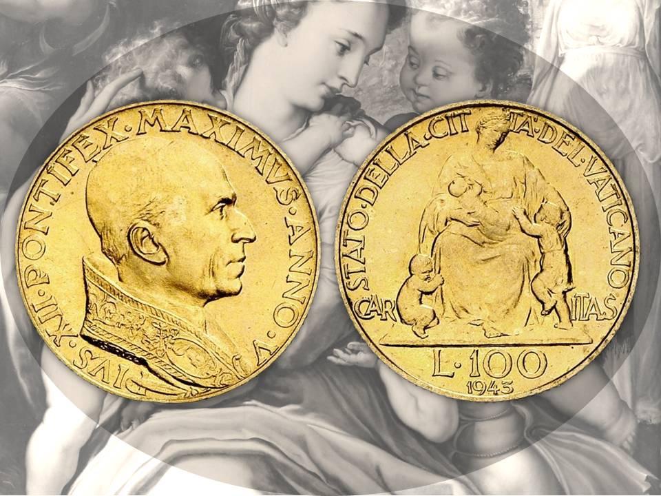 Lo stesso soggetto viene modellato dal maestro Mistruzzi anche per le 100 lire in oro dello Stato della Città del Vaticano: la resa in fase di coniazione, tuttavia, complice il tondello più piccolo, non appare così elevata