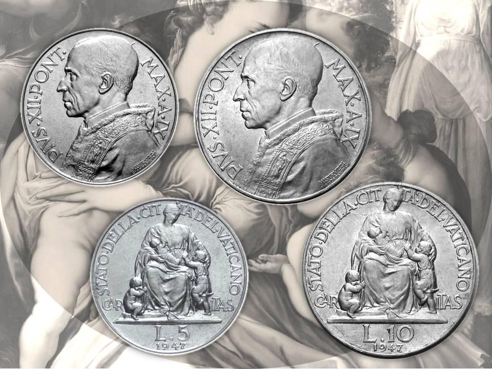 """Dal metallo prezioso alla lega d'alluminio, la figura della """"Caritas"""" continua ad essere soggetto delle monete da 5 e 10 lire vaticane fino al 1949 perpetuando un capolavoro di incisione e di equilibrio compositivo"""
